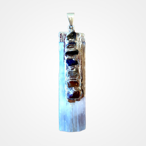 Selenite pendant with chakra stones