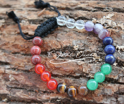Chakra Bracelet Gemstones  This Chakra bracelet surrounds your wrist with 7 different crystals, 3 for each Chakra. Keep yourself cleared, protected, empowered, balanced, encouraged, and improved love and compassion. Stone is chosen, spiritually cleansed and packaged with an abundance of gratitude and high vibe positive energy.