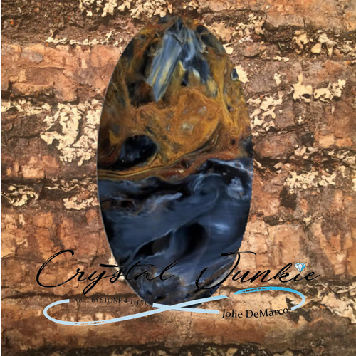 Pietersite -This blue-black brown flecked stone is nature and more. It is said to increase stamina; enhance fortitude, perseverance, and courage; and access the subconscious, all while assisting one in recognizing the souls beauty. this stone is grounding and keeps me open at the crown at the same time, allowing transformation and growth in my present life. Pietersite can help you reorganize chaos in your life and is great for respiratory problems. If you are not present, meaning you think to far ahead or to far in the past, you need to hold this stone in your pocket for a few days. This will bring you to appreciate what you have in the present moment.  Copyright © DeMarco,J. (2019) High Vibes Crystal Healing. Florida: Llewellyn Publishing  Crystal is chosen, spiritually cleansed and packaged with an abundance of gratitude and high vibe positive energy.