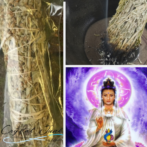 Quan Yin Sage / Clear Your Space  4 inch sticks twine wrapped   Brings clarity and protection of you and your space.  Drives Masqitoes Away, Disinfects the Air,  Comes with directions on the package with a mantra to cite while clearing your space. Crystal is chosen, spiritually cleansed and packaged with an abundance of gratitude and high vibe positive energy.  *** size is pictured 4 inch sticks, size varies  slightly due to the cut and structure of the Mugwort
