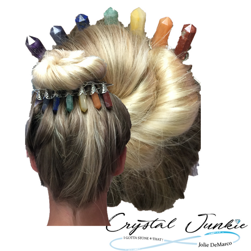 Tierra of Crystals, unique design to wear as a back crown or front Tierra. Shown here as a chakra collection of pure crystals with natural striations formed, creating a one of a kind design.