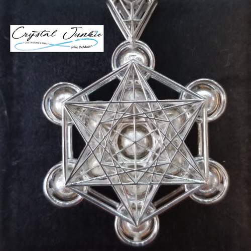 From Crystal Junkie, this Matrix 3D Jewelry Design of Metatron's Cube is a 925 silver pendant created for unique pieces of innovative jewelry. This 3D design in pure 925 silver shows the symbol of one of the most Sacred Geometry shapes, Metatron's Cube .