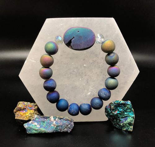Titanium Druzy Bracelet - one size fits all- rainbow energy of positive  success!
