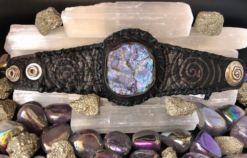 Chalcedony Druzy Deerskin Cuff Cherokee Indian Bracelet
