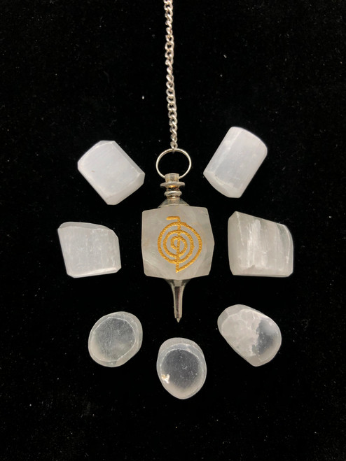 Cho Ku Rei- REIKI pendulum-Milky Quartz- perfect for checking your vitality of your Chakras and aura layers. Also great for asking questions a perfect tool for reiki practitioners and Healers of all modalities.