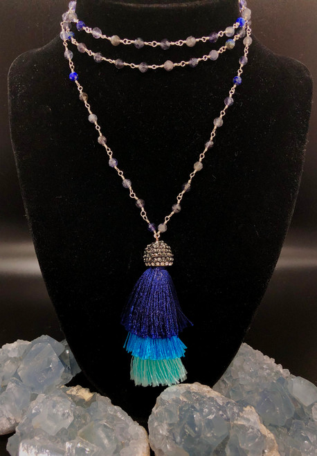 iolite & Lapis Lazuli long necklace 20 inches with Tassel- iolite is a crystal that keeps you in check with life and values. Lapis Lazuli is a protector of all and opens inner knowing and instills wealth and  positive health to come your path.
