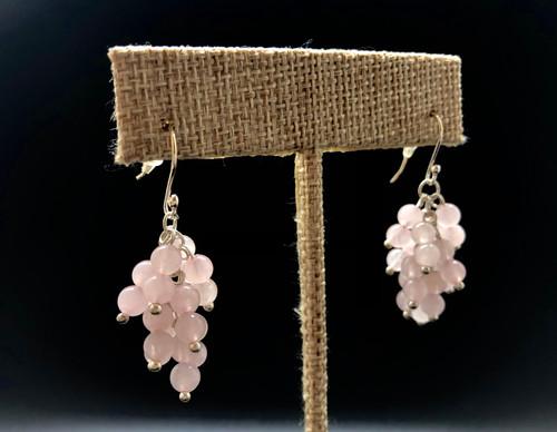 Rose Quartz Cluster earrings - Love is in the ears!