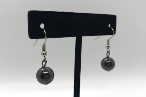 Shungite Single  Bead earrings EMF Protector!