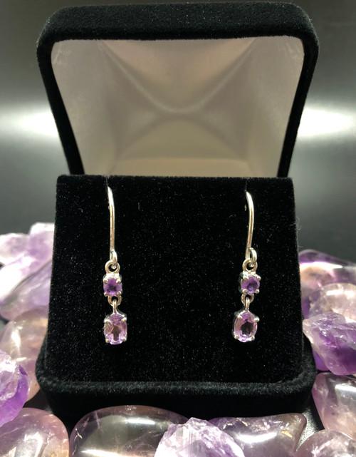 Amethyst drop earrings 925 silver