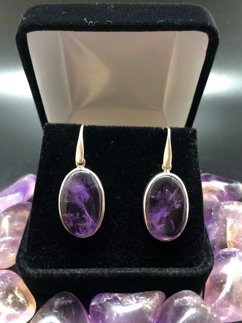 Amethyst Oval earrings 925 silver