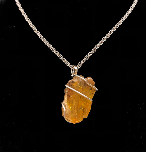 Amber raw wired necklace- Power 2nd&3rd Chakras