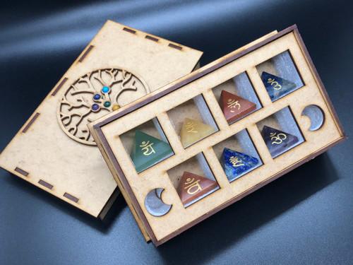 7 Pyramid Crystal set with Chakra Symbols