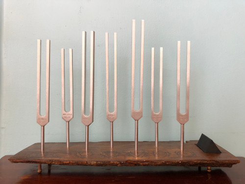 7 Chakra Tuning Fork Set with Wood Holder