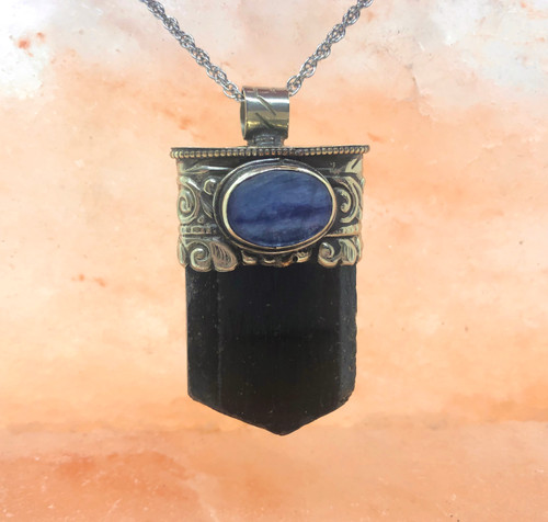 Black Tourmaline & Kaynite necklace