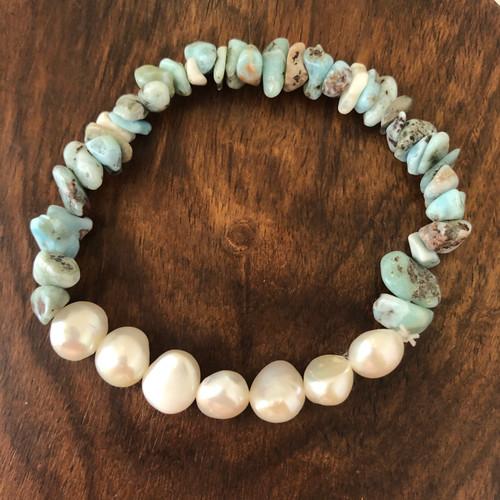 Larimar & Pearls Bracelet