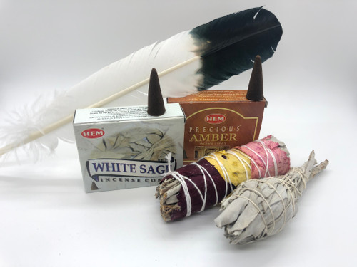 Smudge kit; feather, white sage cones, Amber cones, Love rose petals sage bundle and white sage bundle.
