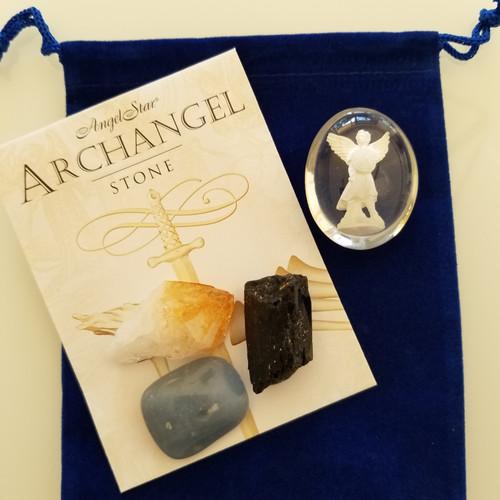 Protection set - Archangel Michael stone, Citrine, Black tourmaline and Angelite stones