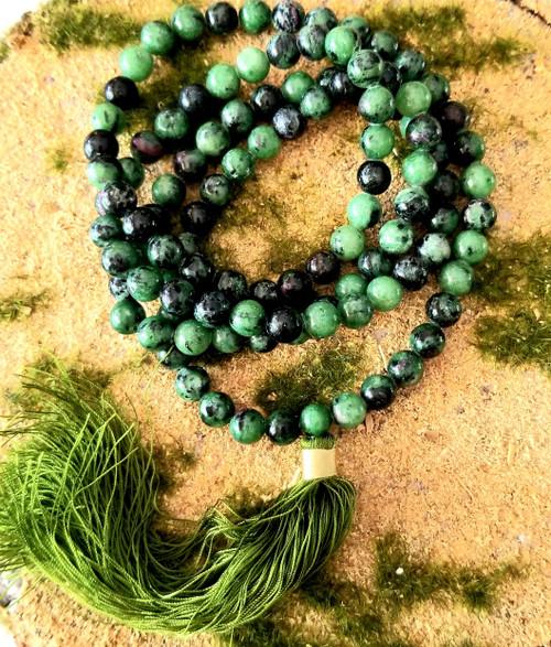 108 Ruby Zosite Mala Meditation Beads/Necklace