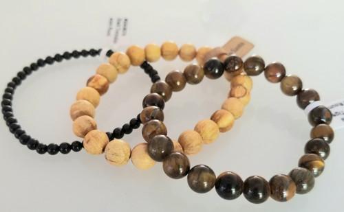 Peruvian Palo Santo, Black Obsidian and Golden Tigers eye Bracelet
