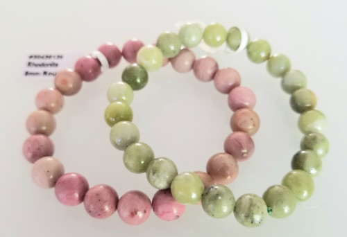 Be Lucky & Attract Love! Rhodochrosite & Jade Bracelets