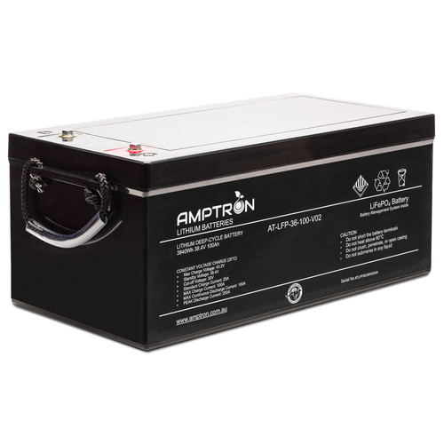 Amptron 36V 100Ah / 100Amp  Continuous Discharge Lithium LiFePO4 Battery