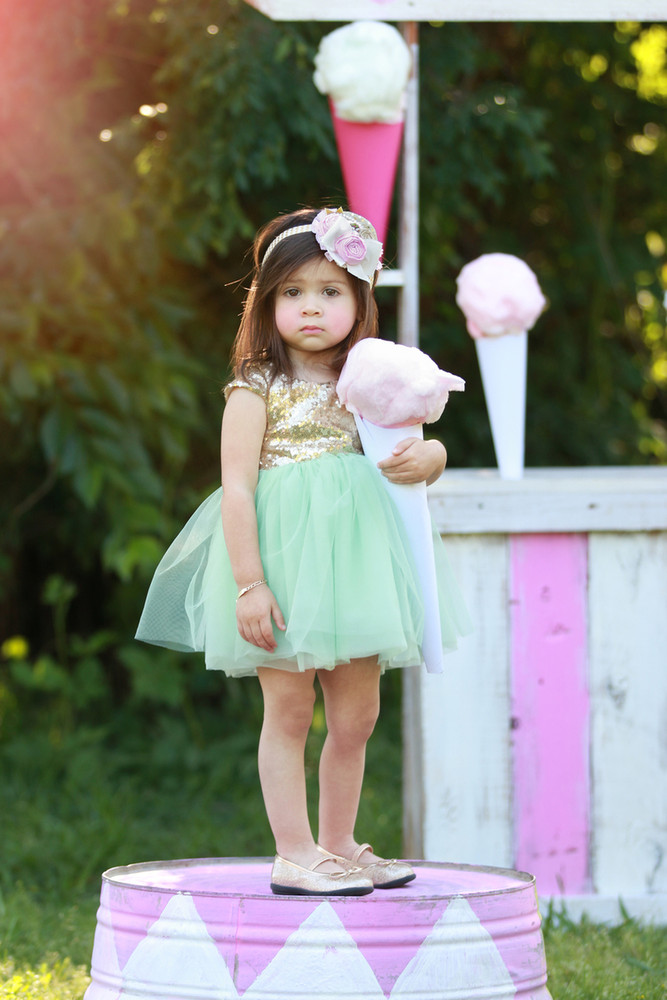 Mint & Gold Sequin Cap Sleeve Dress