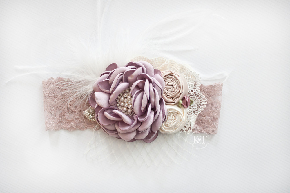 Mauve Net Flower Headband