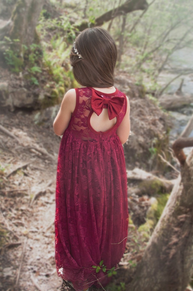 Burgundy Lace Sweetheart Dress Keyhole Back