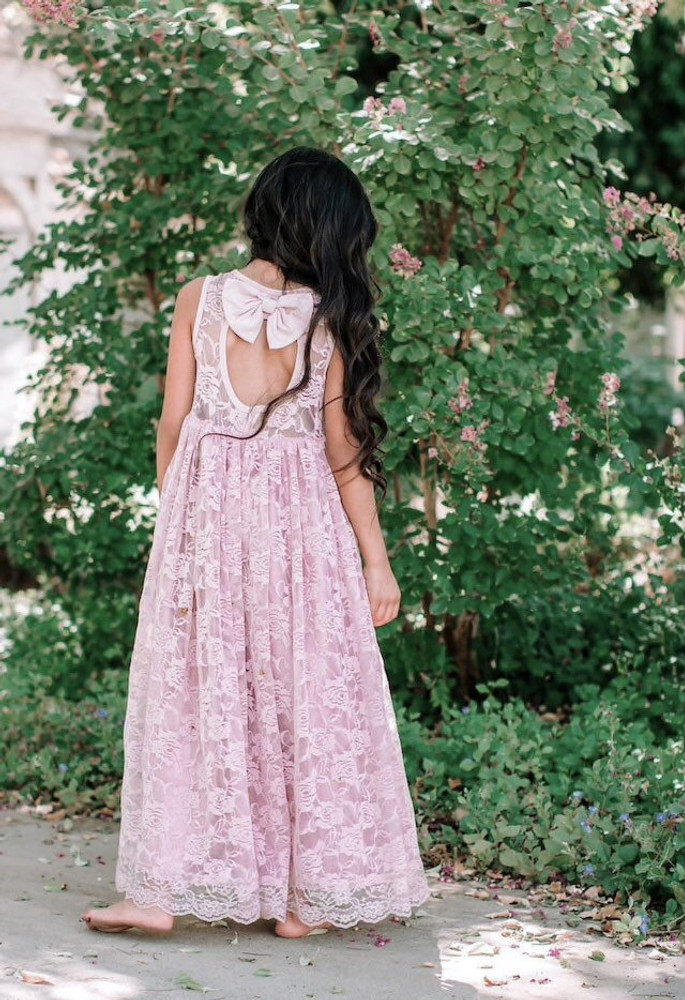 Blush Lace Sweetheart Dress Keyhole Back