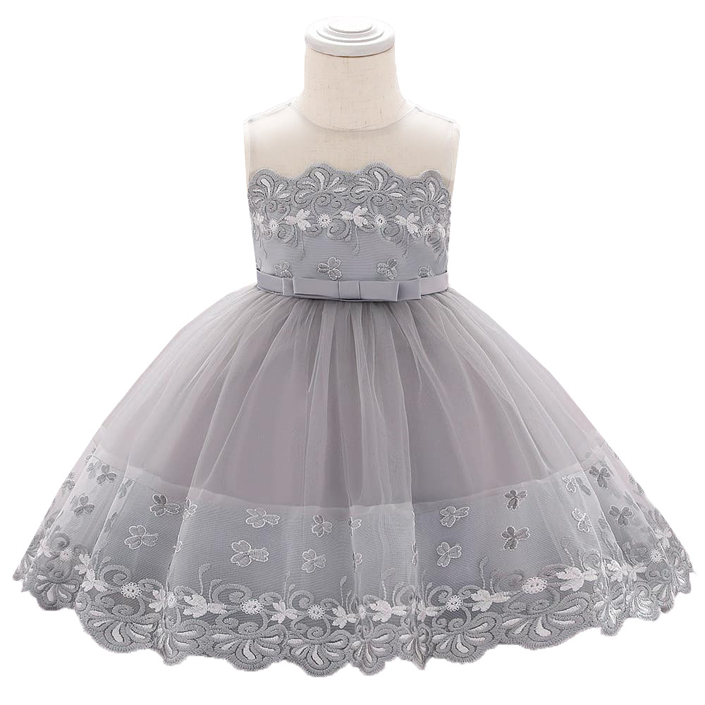 Gray Embroidered Tutu Dress