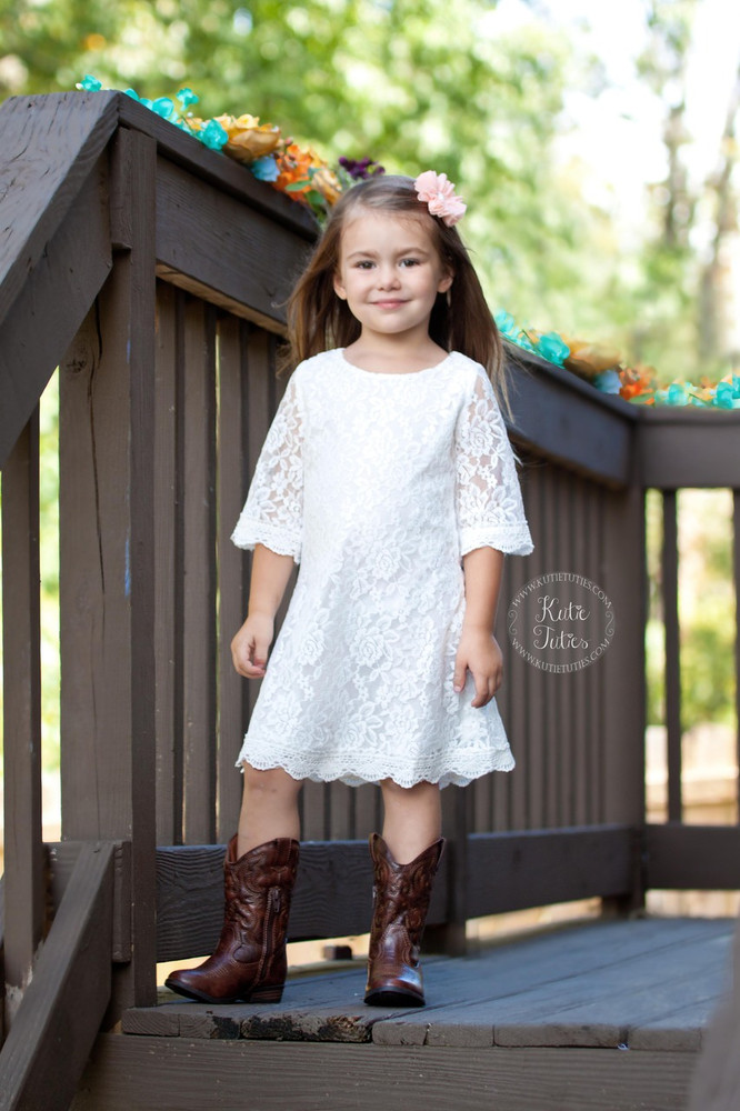 White Lace Dress- 3/4 Sleeves