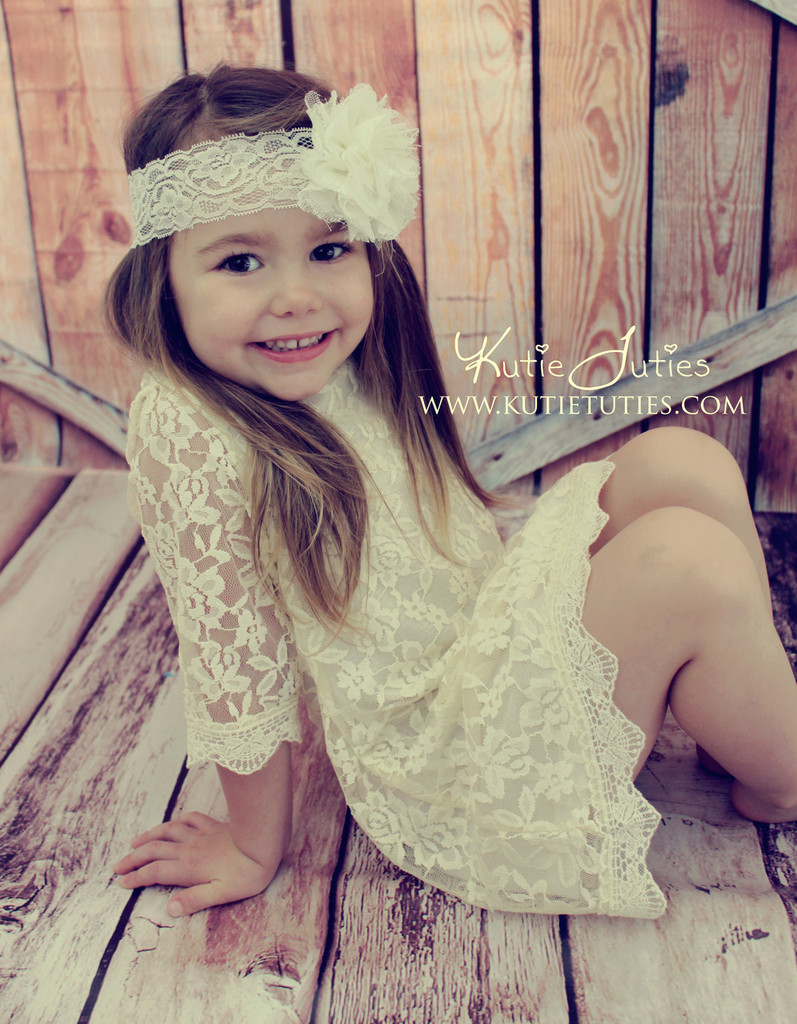 Bright Ivory Chiffon Lace Headband