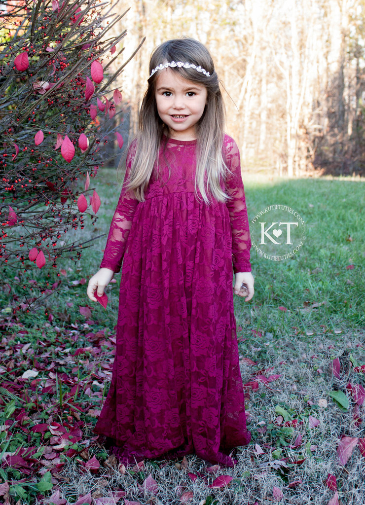 Burgundy Lace Sweetheart Long Sleeve Dress