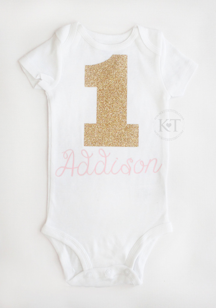 Pink & Gold Birthday Onesie/Shirt (Personalized)