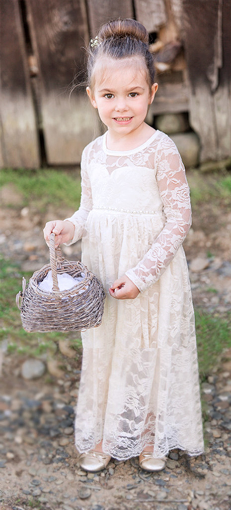 Ivory Lace Sweetheart Long Sleeve Dress