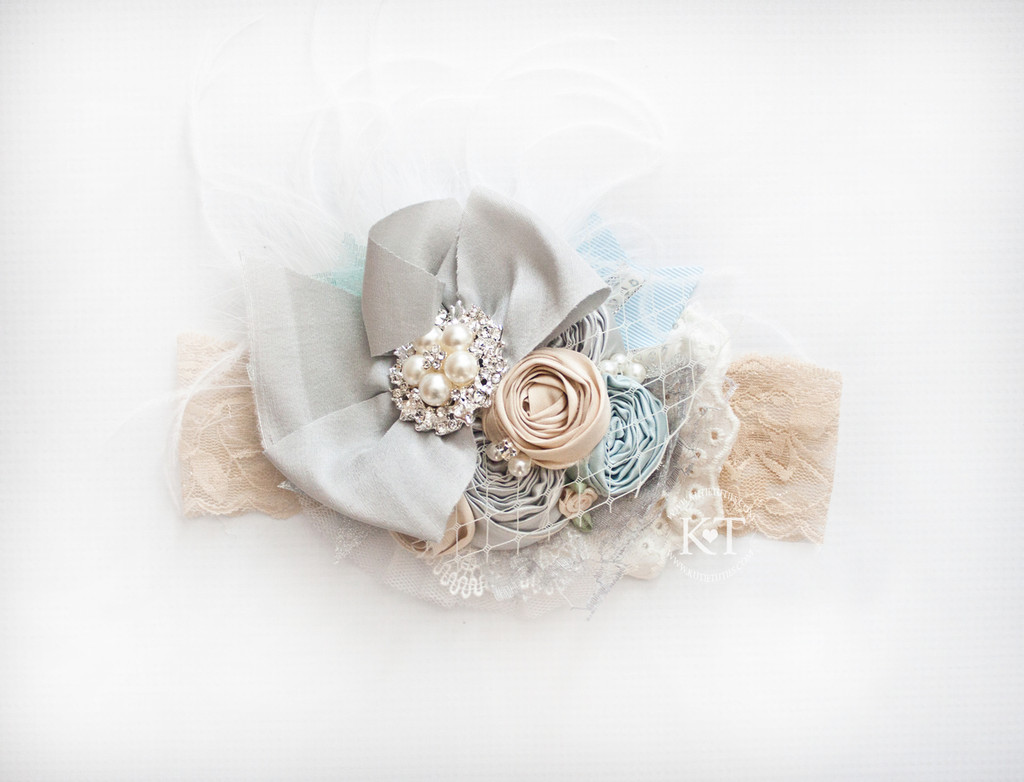 Light Blue, Beige, Gray Flower Headband