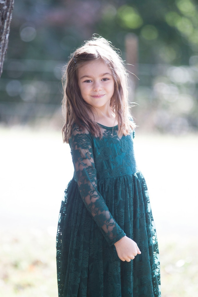 Dark Green Lace Sweetheart Long Sleeve Dress