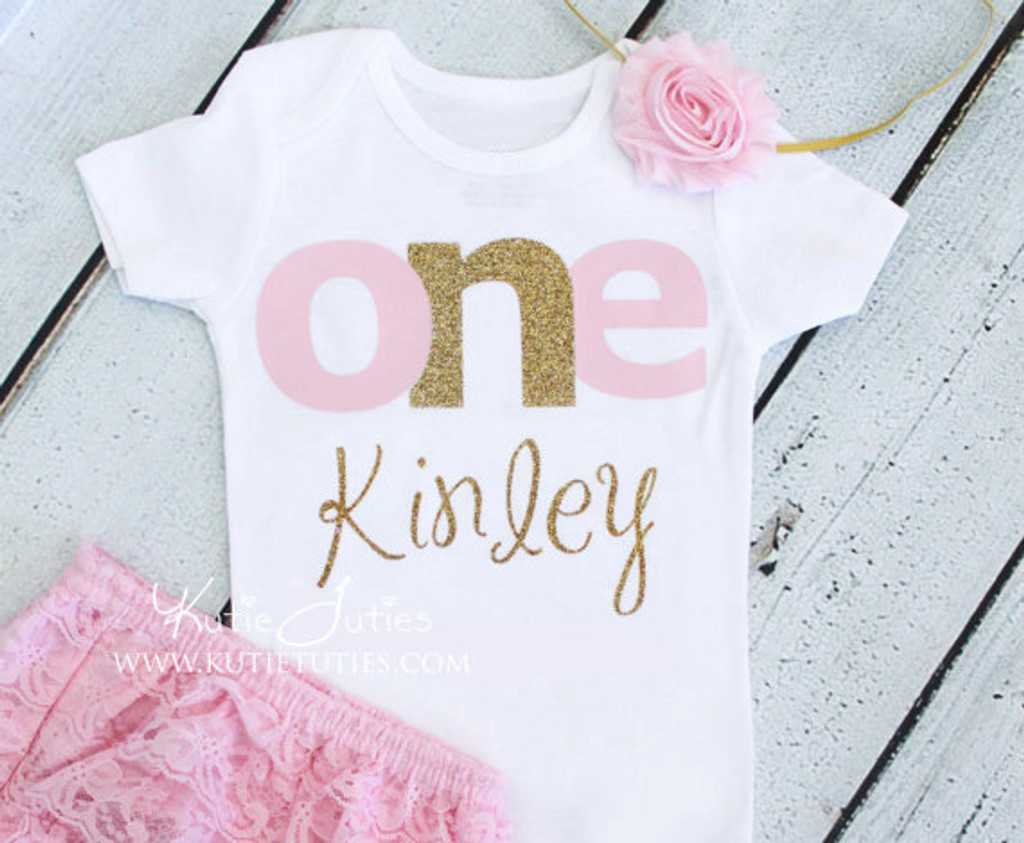 "Pink & Gold ""ONE"" Birthday Onesie/Shirt (Personalized)"