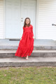 Red Ruffle Sweetheart Long Sleeve Dress