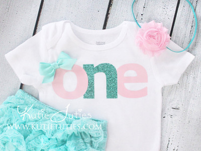 "Pink & Teal ""ONE"" Birthday Bodysuit/Shirt"