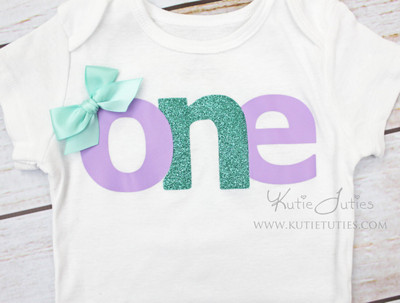 "Lavender & Teal ""ONE"" Birthday Bodysuit/Shirt"