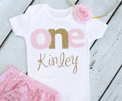 "Pink & Gold ""ONE"" Birthday Bodysuit/Shirt (Personalized)"