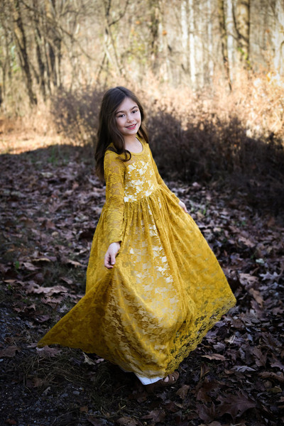 Marigold Lace Sweetheart Long Sleeve Dress