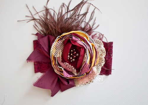 Burgundy & Mustard Satin Flower Headband