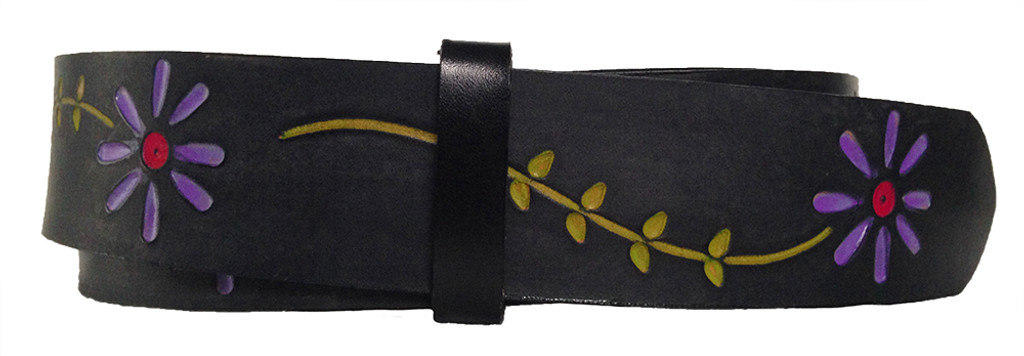 PUSHING DAISIES Black Leather Belt