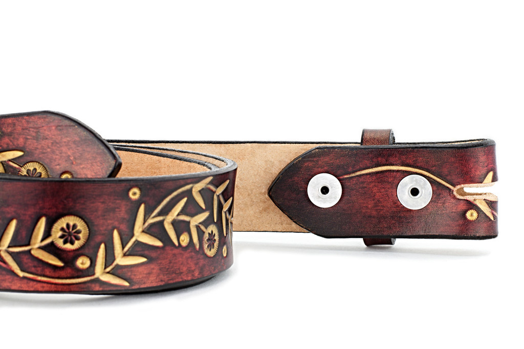 Wheat and Clover Leather Belt
