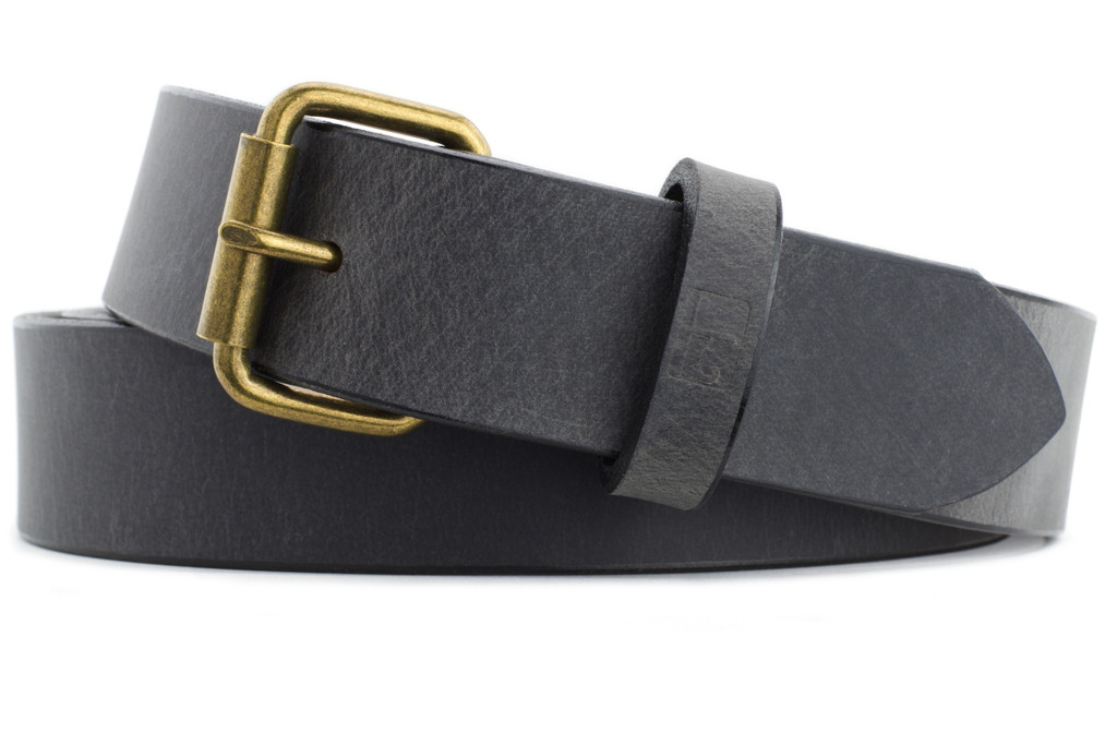 Naleeni Mens Gray Leather Belt 1.5 inches