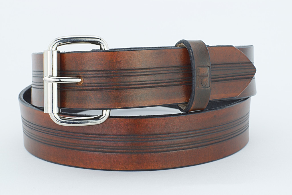 F1 Men's Leather Belt Brown 1.5 Inches