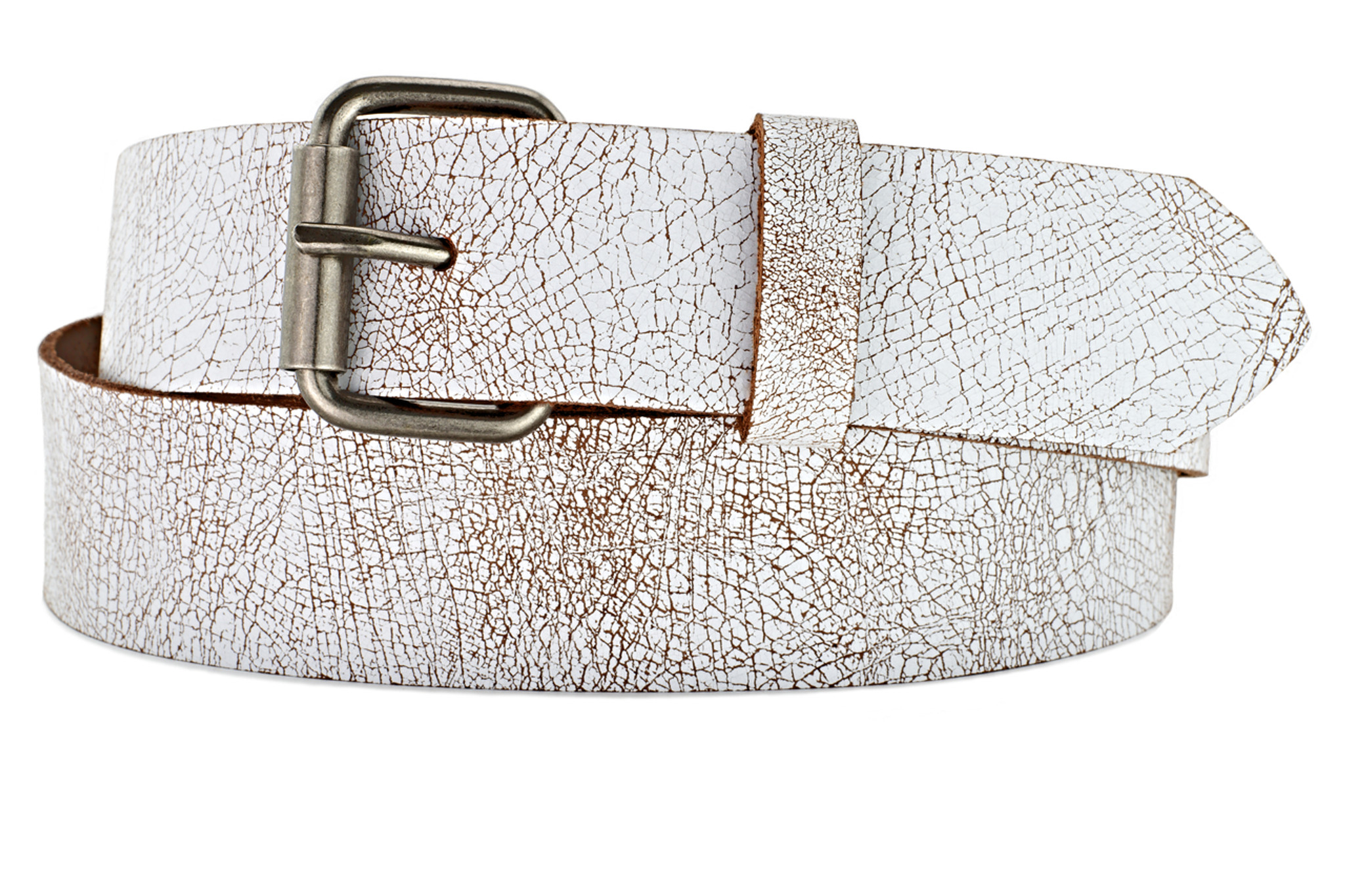 Vintage Crackle White Leather Belt