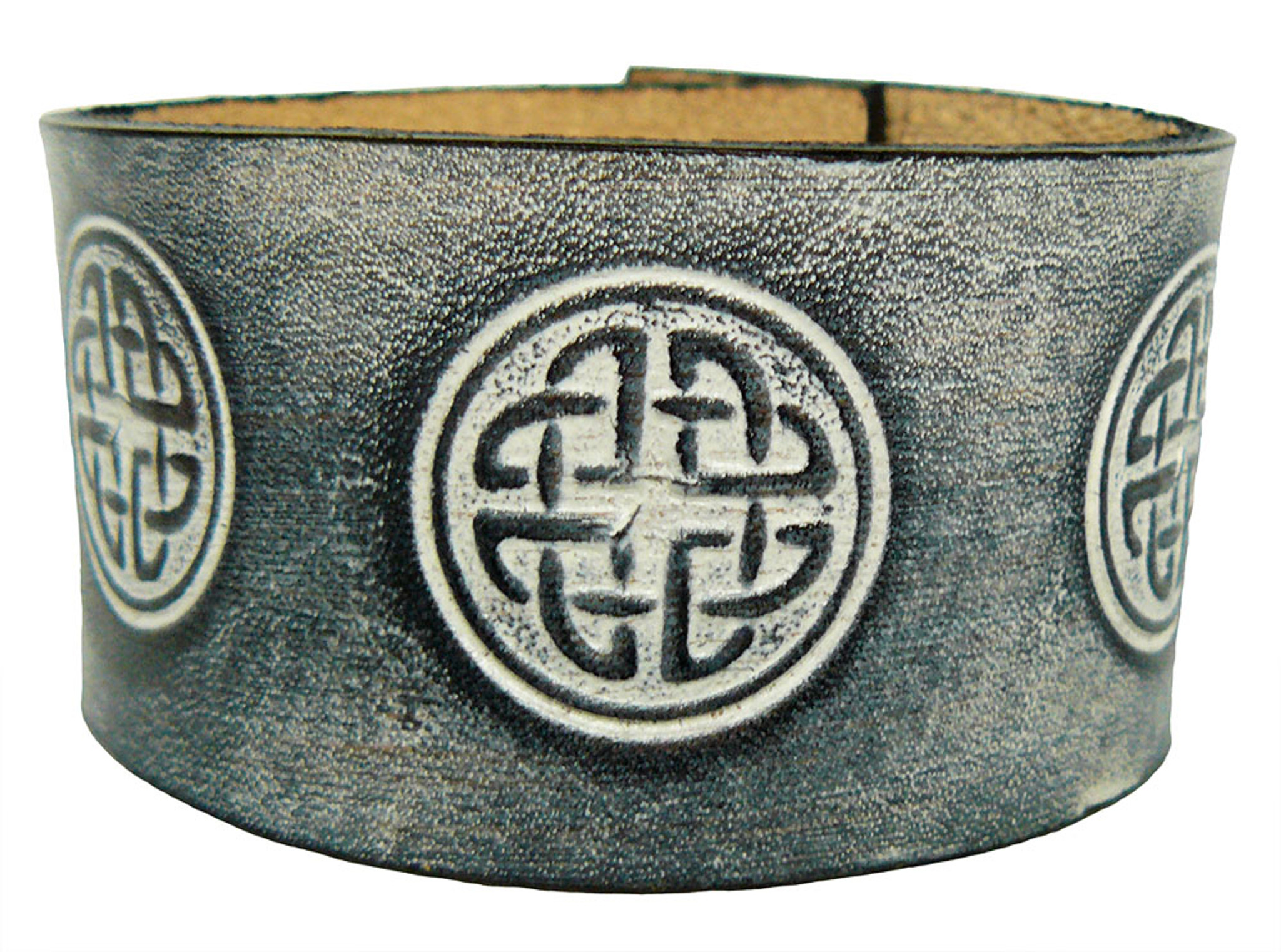 'Celtic Knot Circle 1.5 Inch' Leather Wristband